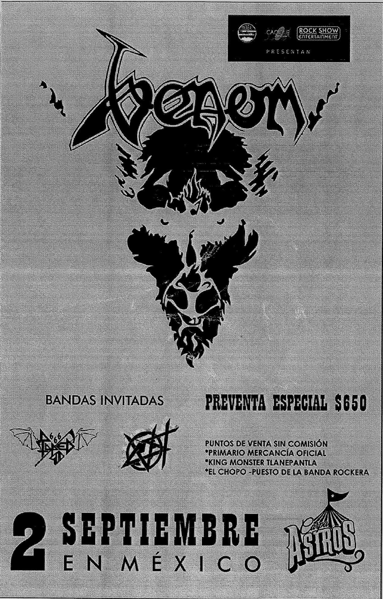 venom black metal flyer mexico 2016