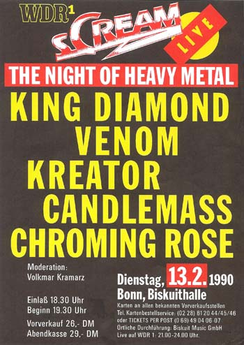 venom black metal live 1990 flyer