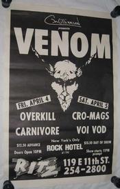 venom usa 1986 poster concert