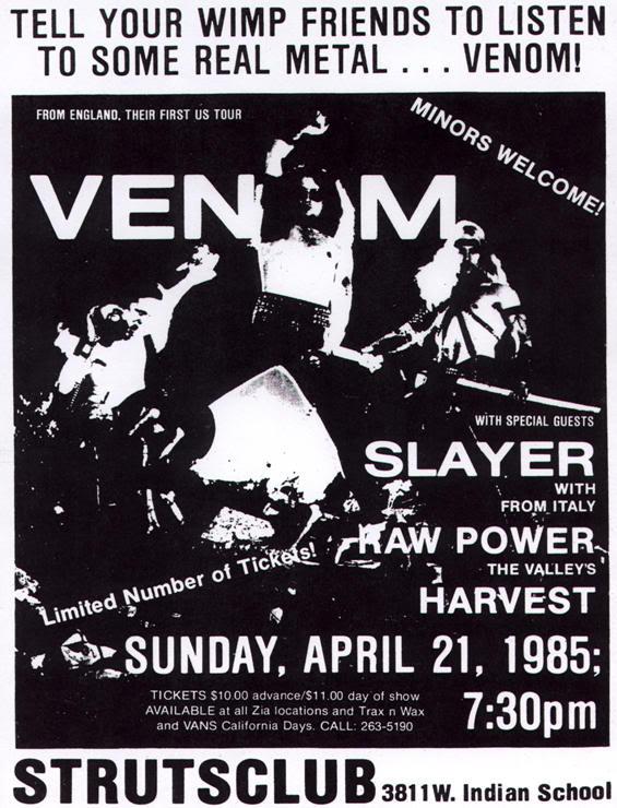 venom black metal concert flyer 1985