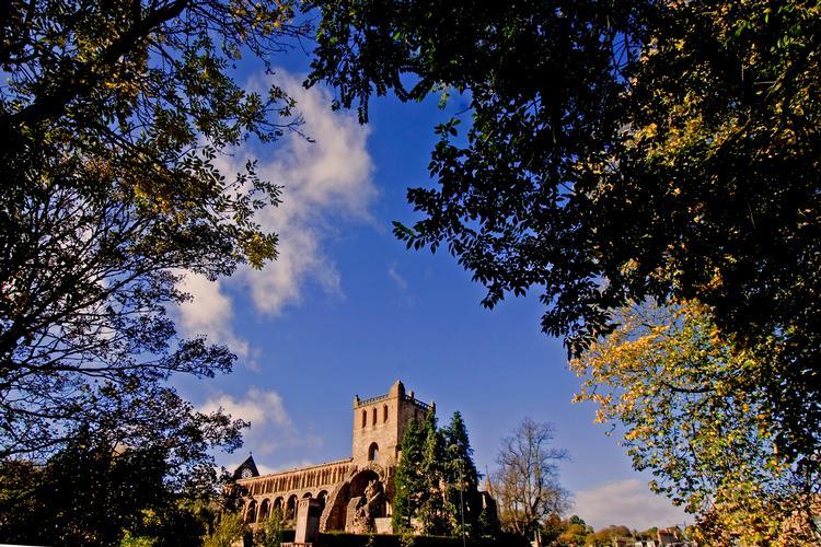 Autumn colours Jedburgh Abbey in the Scottish Borders.