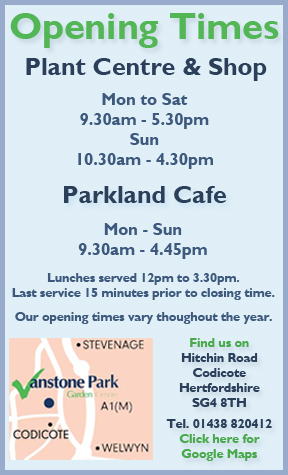 vanstone park garden centre opening hours and map