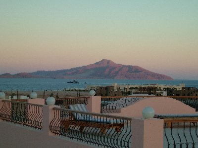 Roof terrace view of Tiran Island