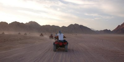 Off on a quadbiking trip into the Sinai mountains at dusk - great fun