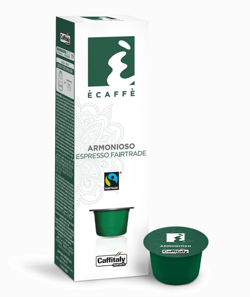 CAFFITALY SYSTEM ECAFFE ARMONIOSO FAIRTRADE COFFEE CAPSULES -100 CAPSULES- FREE UK DELIVERY