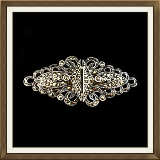 Art Deco Silver & Marcasite Dress Clips Brooch