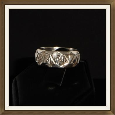 Broad Vintage Silver Patterned Wedding Ring