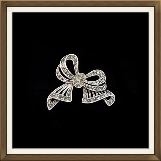 Art Deco Silver & Crystal Bow Brooch