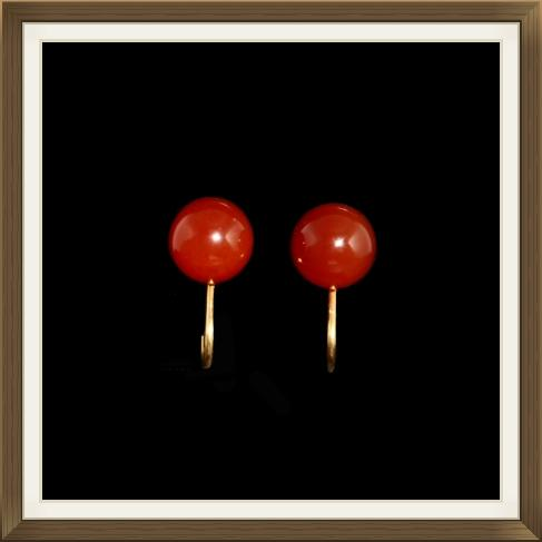 Victorian 9ct Gold Carnelian Earrings