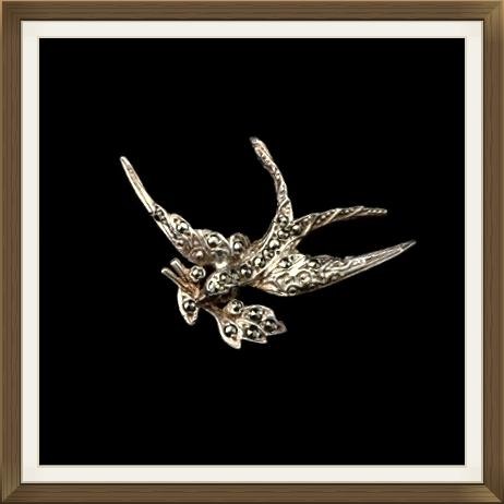 Art Deco Irish Silver & Marcasite Swallow Brooch