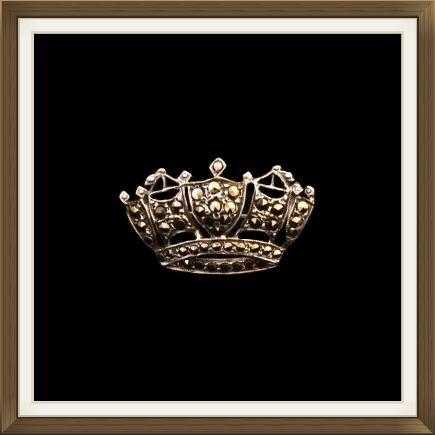 Art Deco Silver & Marcasite Crown Brooch