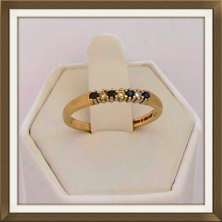 Gold Sapphire Diamond Eternity Ring