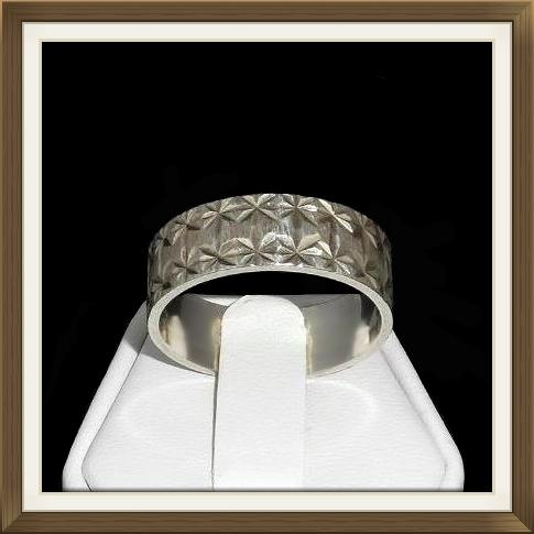 Vintage Large Sized Engraved Silver Wedding Ring