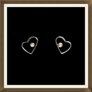 Dainty Silver & Diamond Heart Stud Earrings