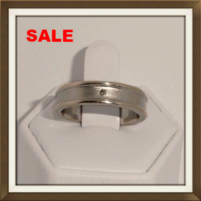 Silver & Diamond Wedding Ring