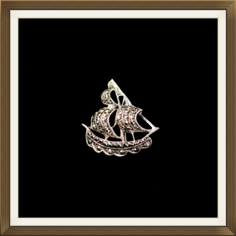 Art Deco Silver & Marcasite Galleon Brooch