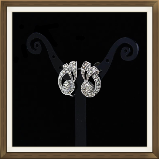 Art Deco Silver & Marcasite Earrings