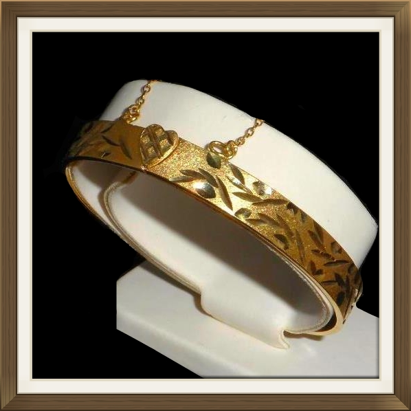 Vintage Silver & Gold Heart Clasp Bangle