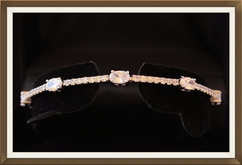 Modern Gem Set Silver Bracelet