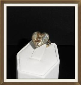 Antique Gold & Silver Heart Ring