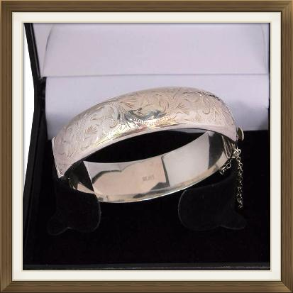 Beautiful Wide Engraved Silver Bangle