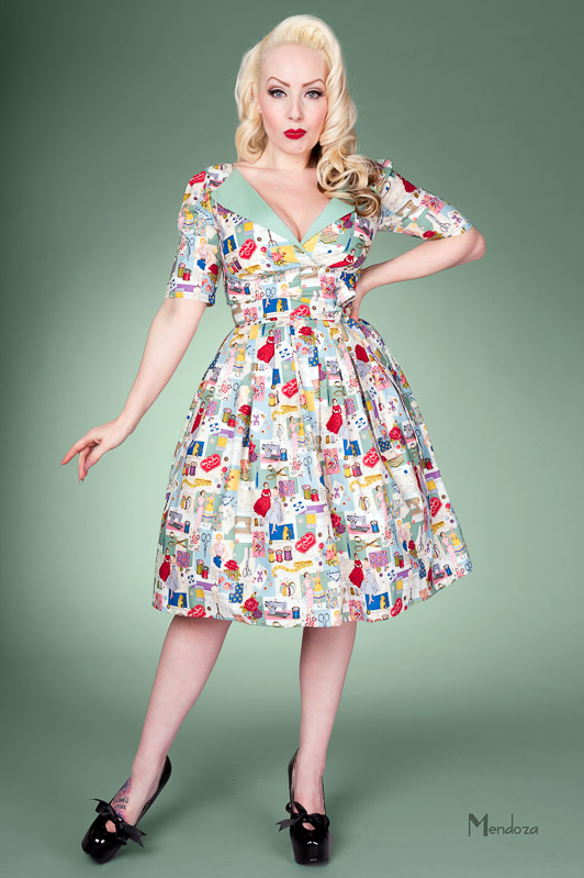 revere pleat vintage style dress