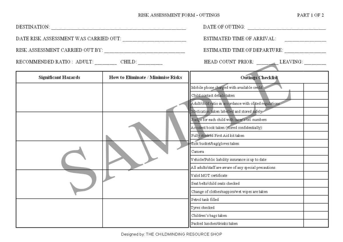 simple risk assessment template for childminders - wordpress, Invoice examples