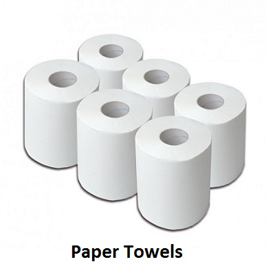 Paper towels, paper to clean glass, centre feed rolls