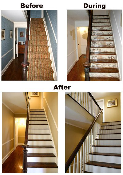 Stair sanding, stripping and refinishing.