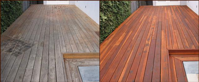 Decking sanding and sealing with decking oil.