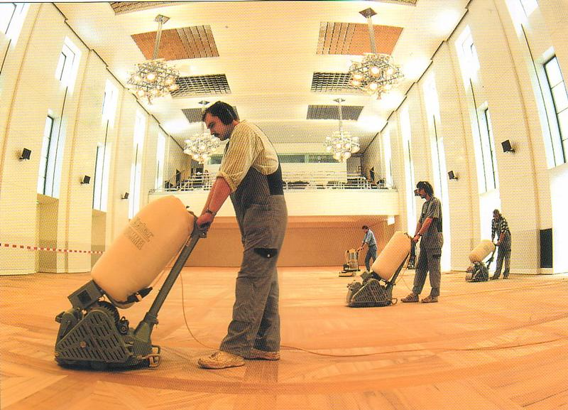Commercial Parquet Floor Restoration using Hummel Machines and Trio by Lagler.