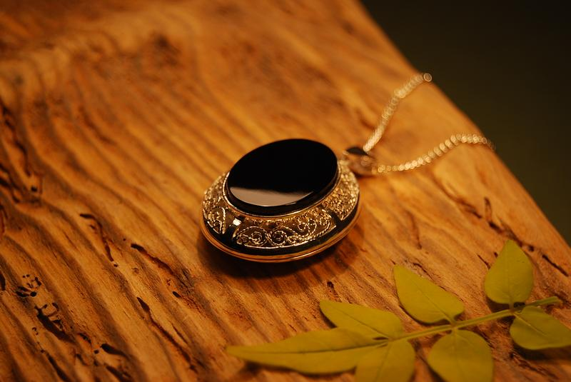 Silver Whitby Jet Locket