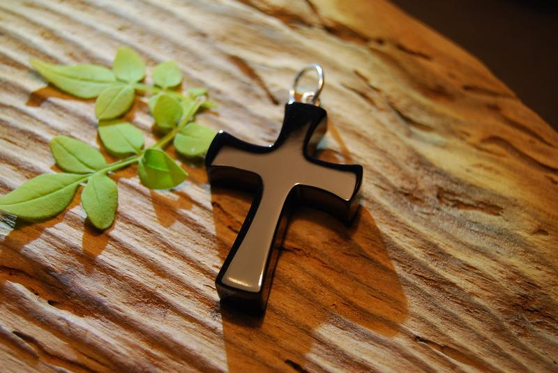 Plain Whitby Jet Cross