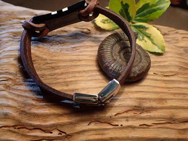 Mens Whitby Jet  Ivory Bracelet