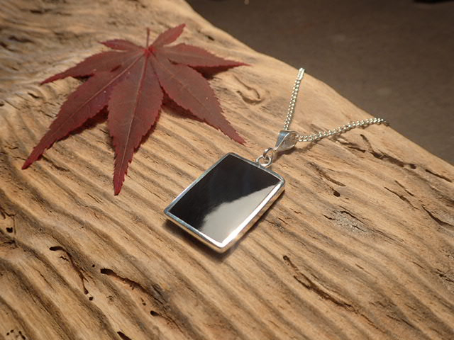 Whitby Jet  925 silver square pendant