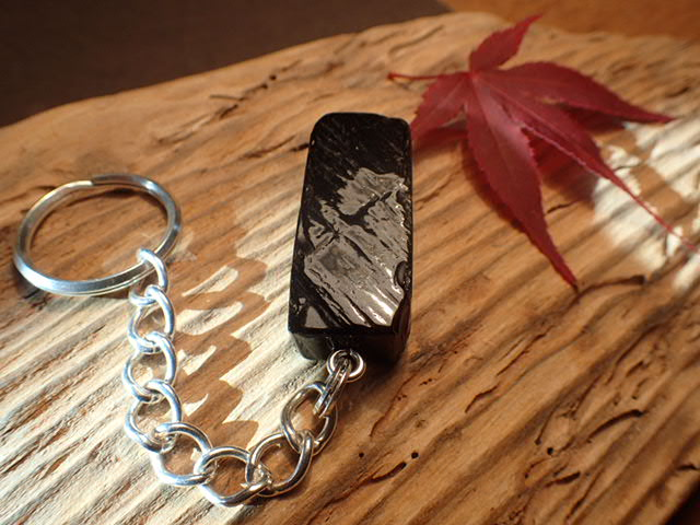 Whitby Jet sea washed key ring