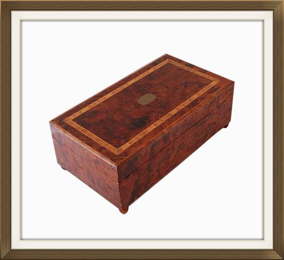 Art Deco Mahogany Walnut Musical Jewellery Box