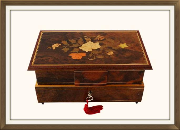 Vintage Italian Inlaid Musical Jewellery Box