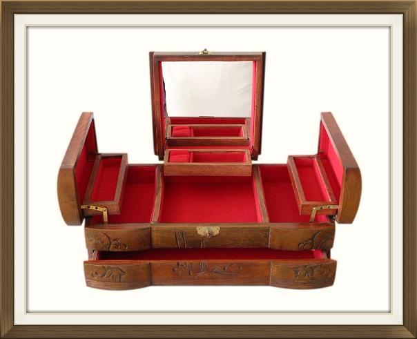 Very Large Carved Vintage Chinese Jewellery Box