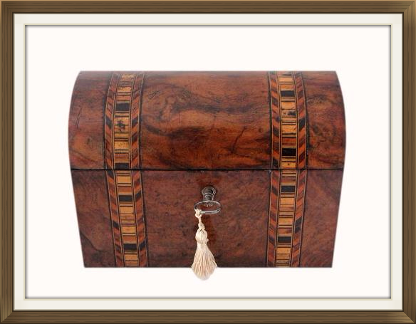 Beautiful Victorian Inlaid Walnut Jewellery Casket