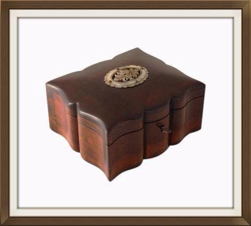 Beautiful Antique Solid Walnut Jewellery Box