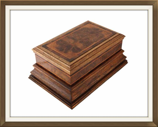 Art Deco Oak Walnut Jewellery Box With Plinth