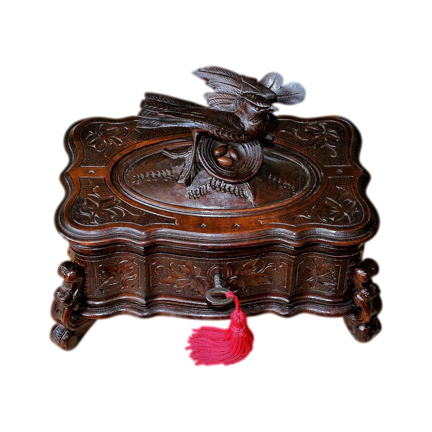 Stunning Black Forest Hand Carved Antique Jewellery Box