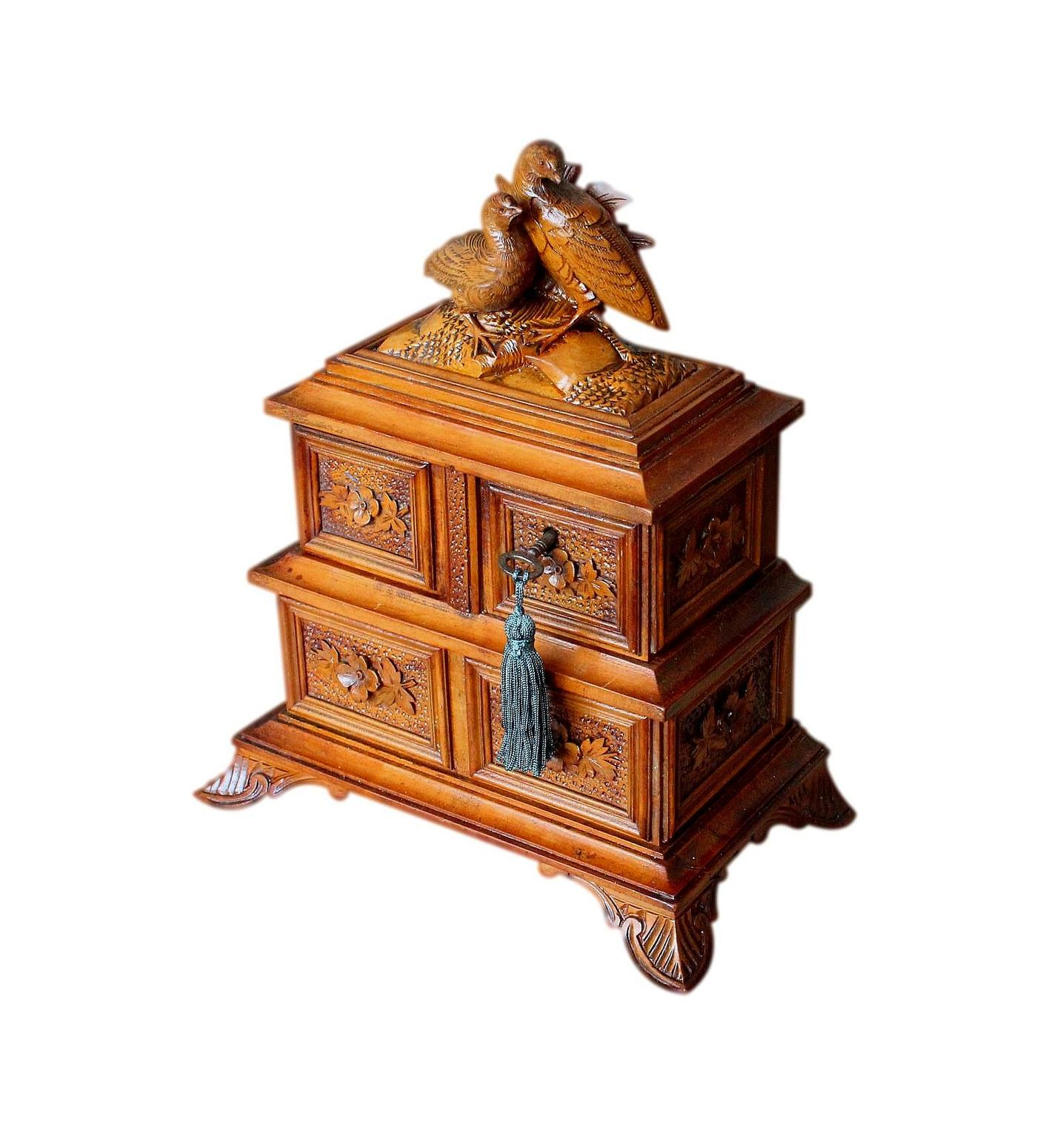 Beautifully Carved Refurbished Antique Black Forest Jewellery Box