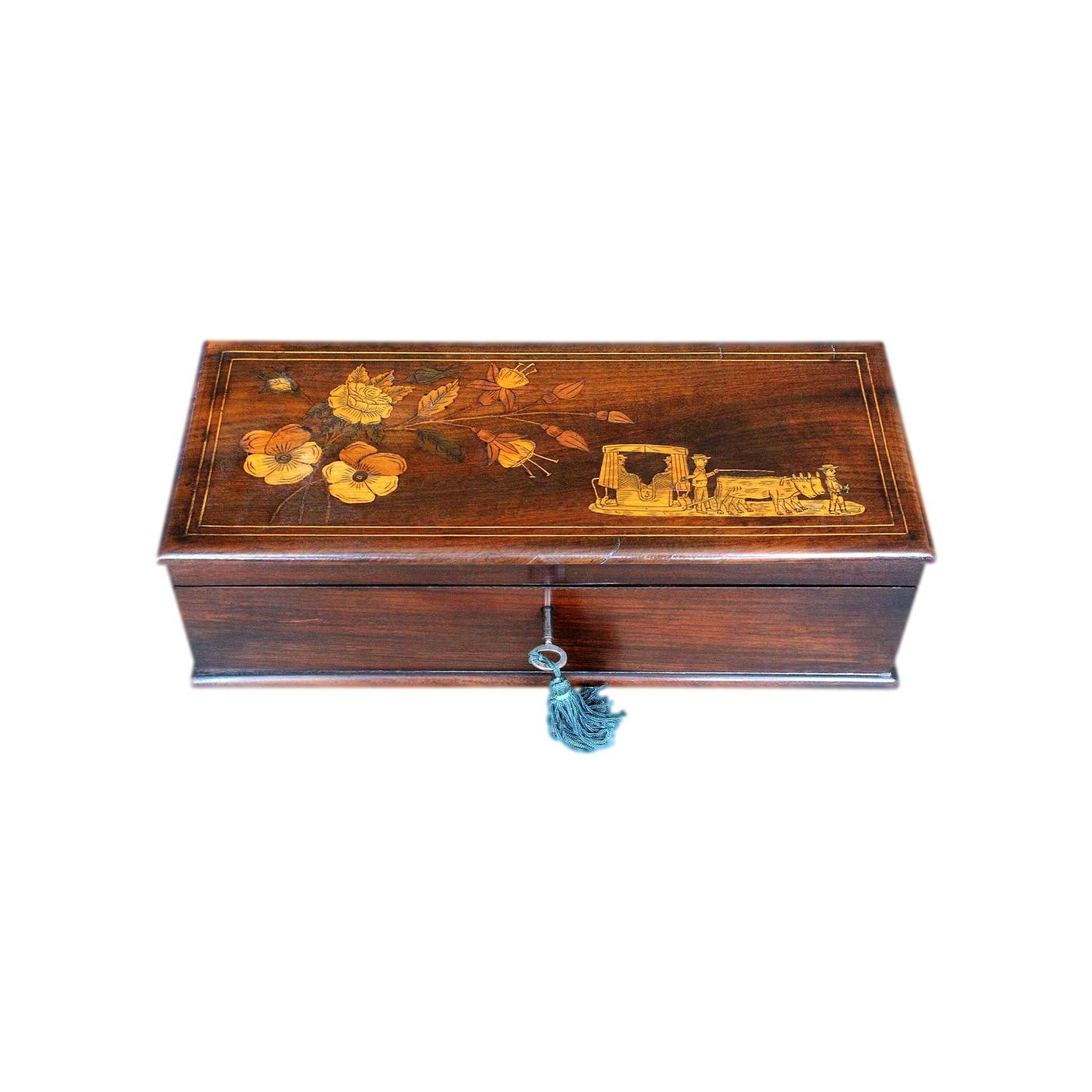 Beautifully Refurbished Inlaid Madeiran Antique Jewellery Box