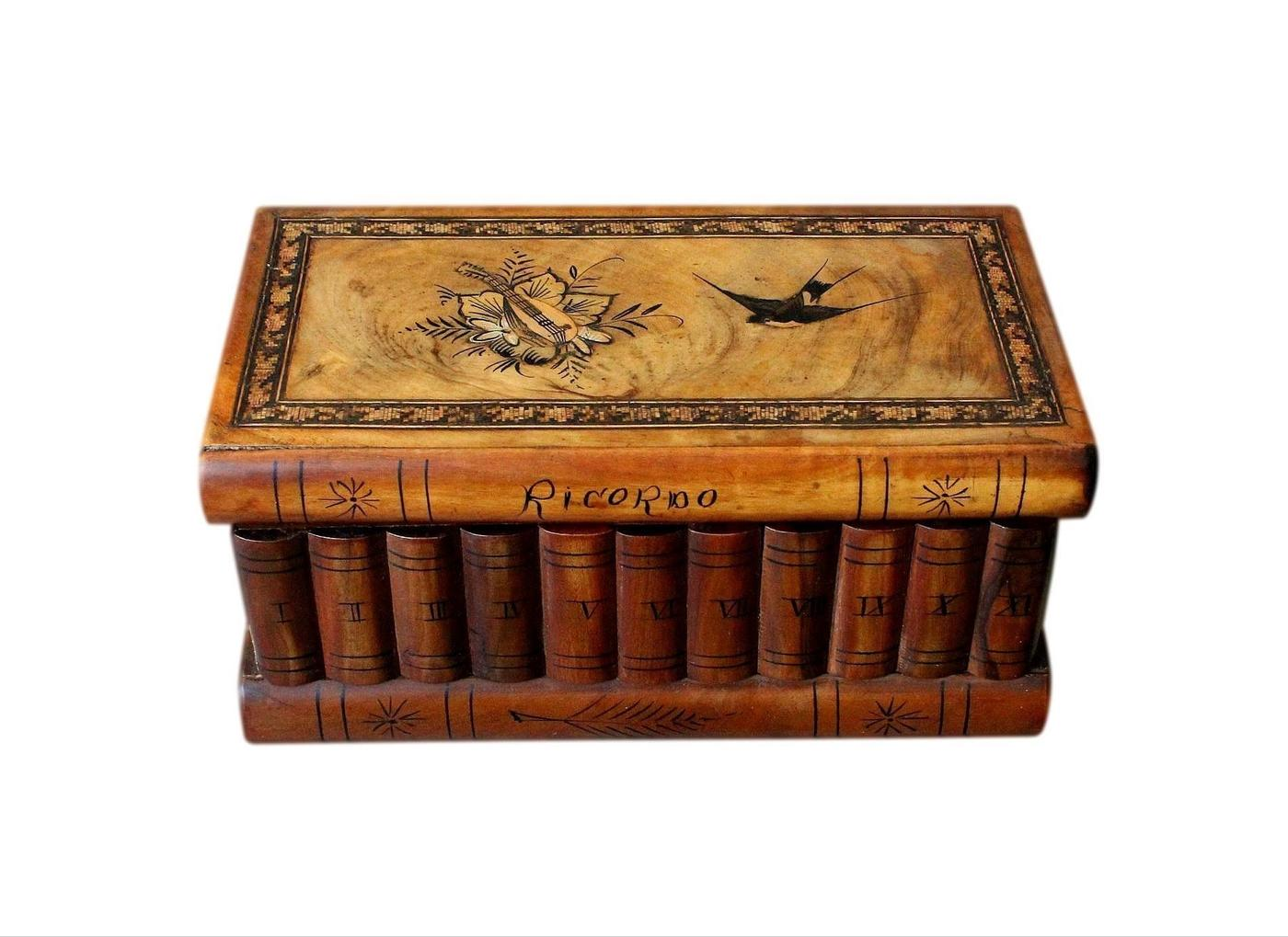 Italian Antique Puzzle Jewellery Box With Secret Lock And Compartment