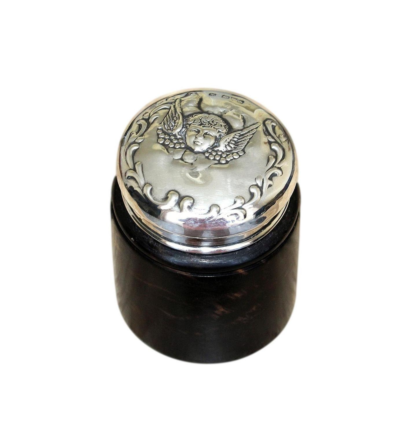 Beautiful Antique Gabon Ebony And Silver Trinket Pot With Cherub