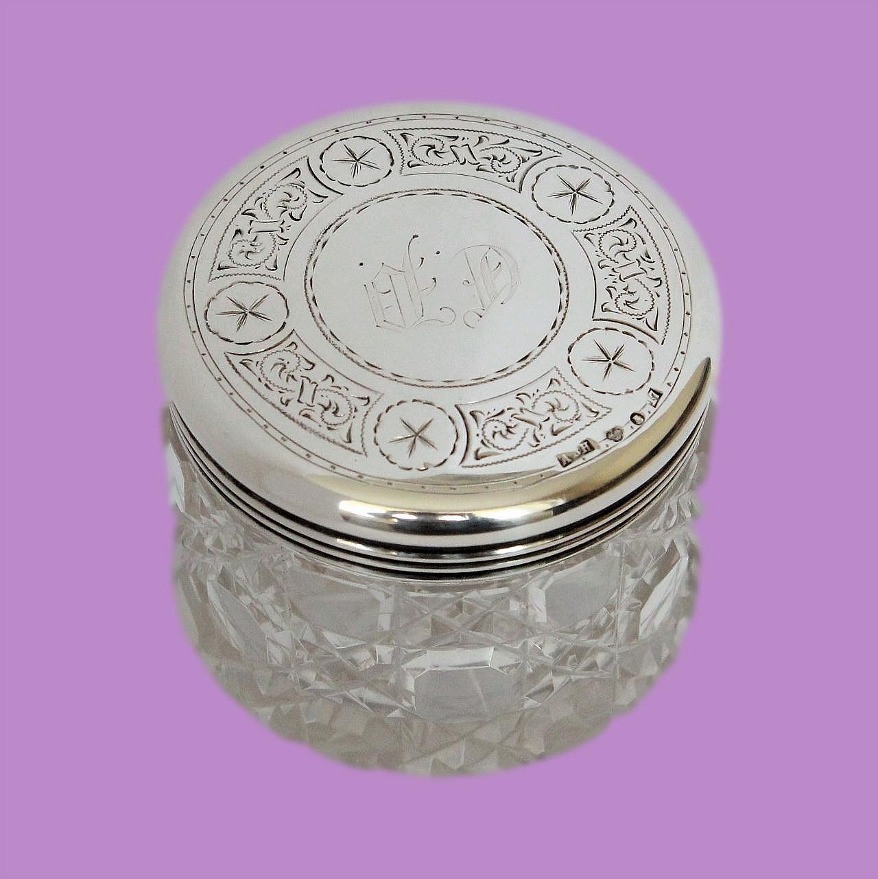 Beautiful Swedish Cut Glass And Silver Antique Jewellery or Trinket Pot