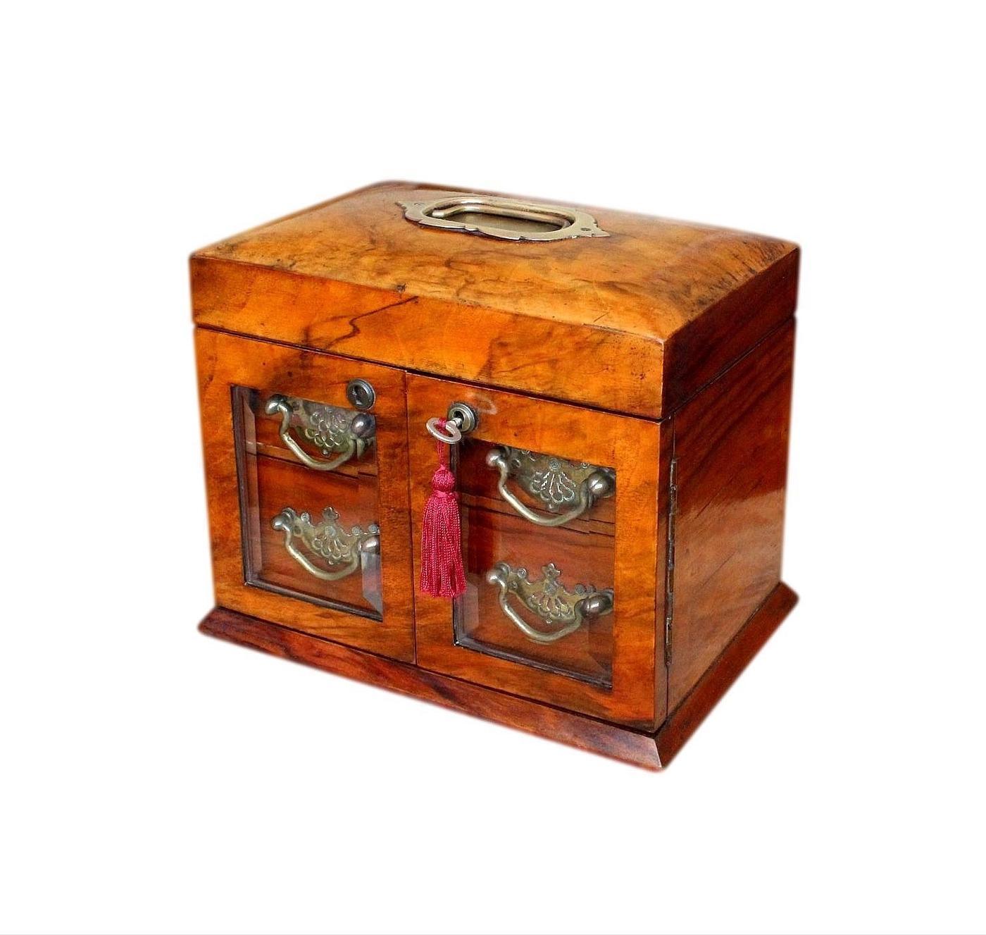 Superb Glazed Solid Walnut Antique Jewellery Cabinet