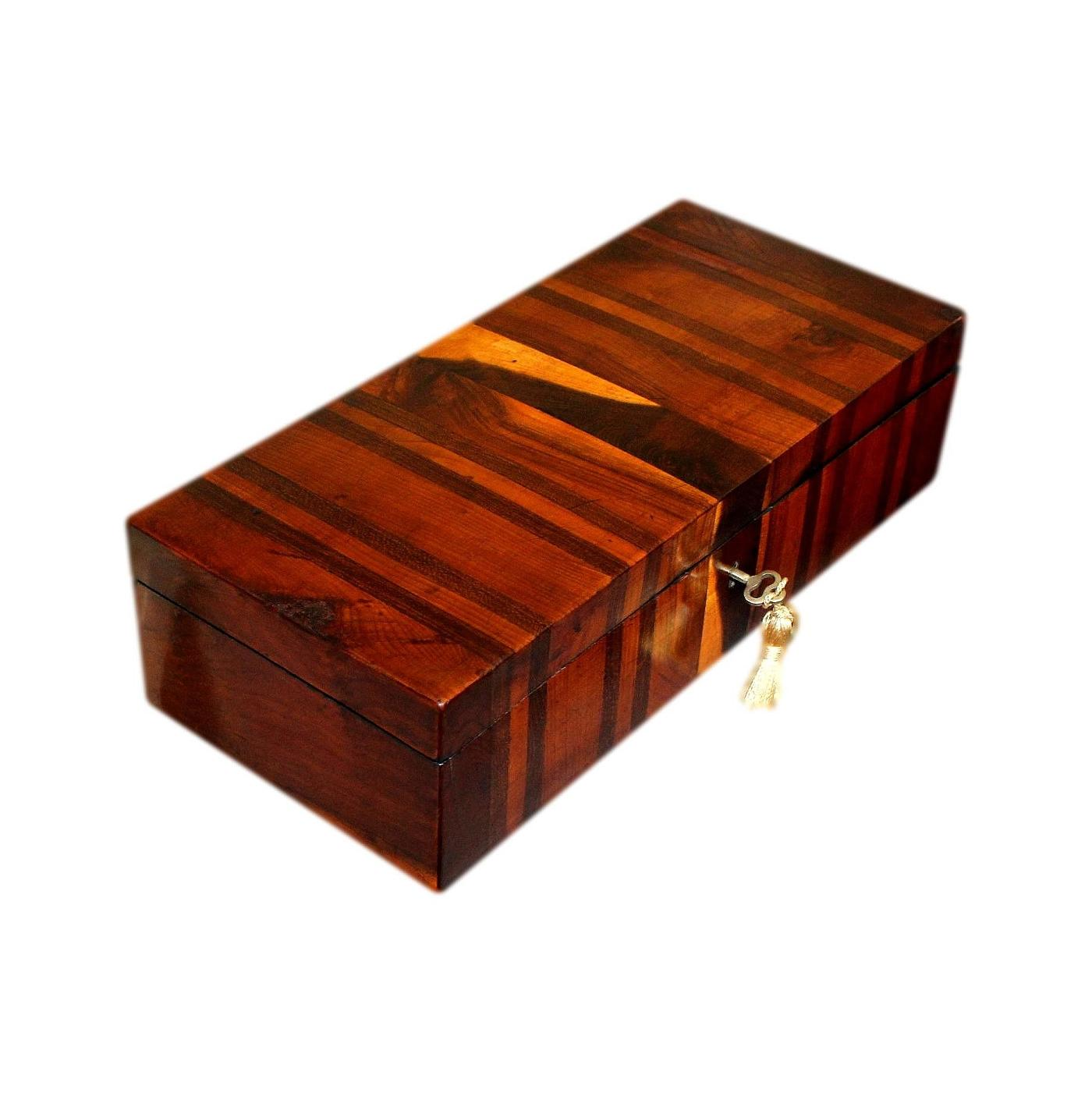 Beautiful Antique Jewellery Box With Bands Of Exotic Fruitwoods